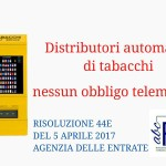 Distributori automatici di tabacchi nessun obbligo telematico